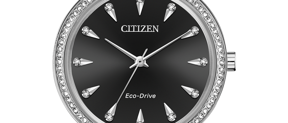 Citizen Eco-Drive Silhouette Crystal with Black Dial FE7040-53E