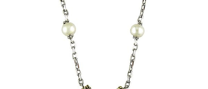 Silver Black Diamond and Pearl Horseshoe Necklace