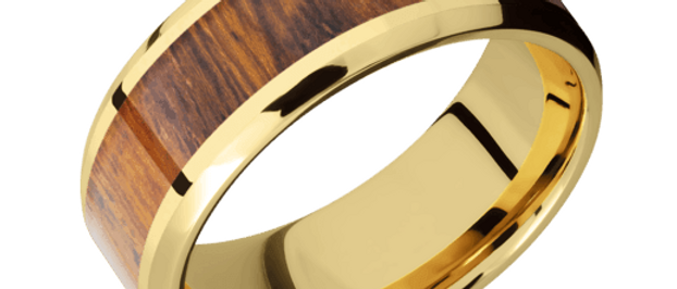 14K Yelow Gold Band with Hardwood Inlay