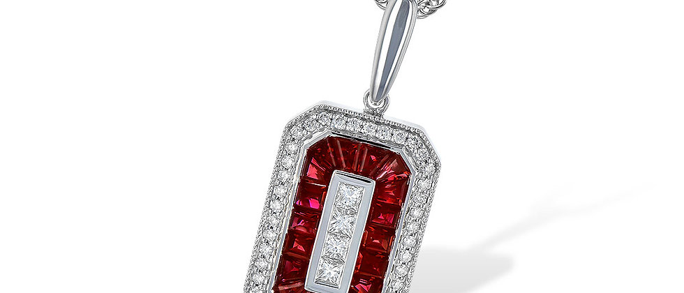 Ladies' White Gold Ruby and Diamond Necklace