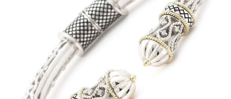 Silver and 18K Diamond Bangle