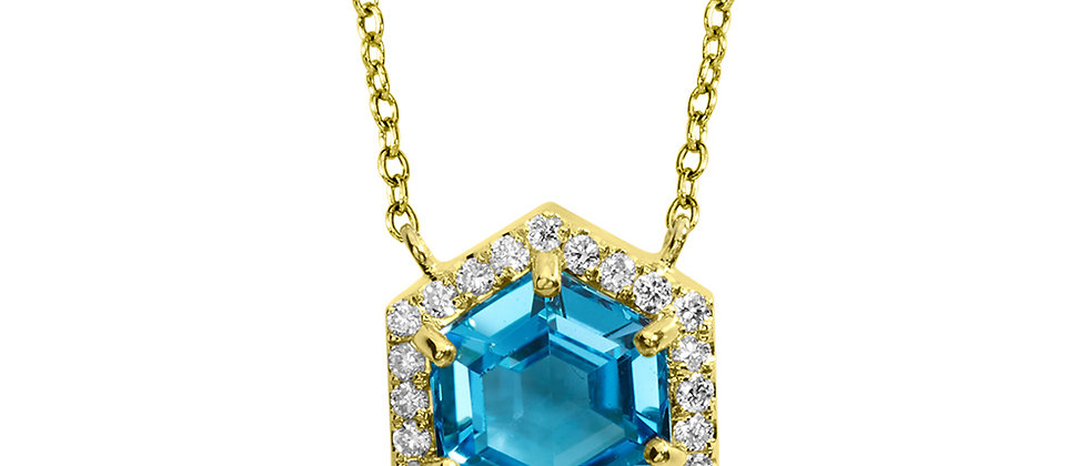 HEXAGONAL SWISS BLUE TOPAZ AND PAVE DIAMOND NECKLACE