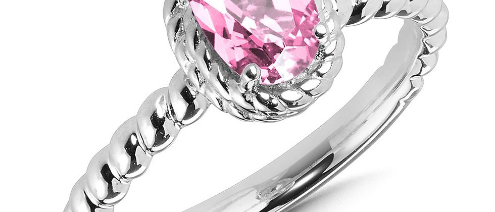 Created Pink Sapphire Ring