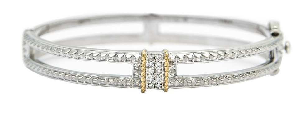 Silver and 18K Diamond Bracelet