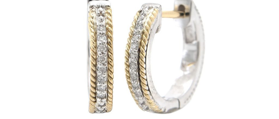 Silver and 18K Diamond Hoops