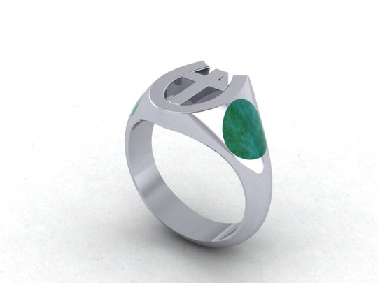 Silver Cross and Turquoise Ring