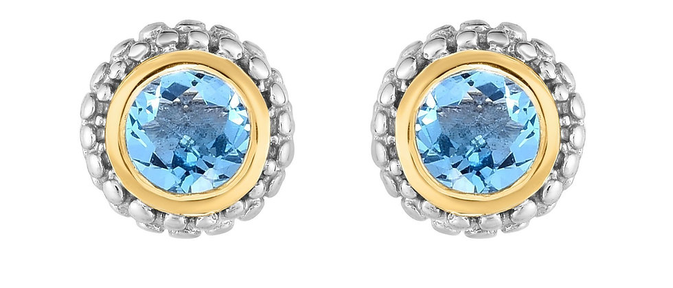 Silver & 18K Blue Topaz Earrings