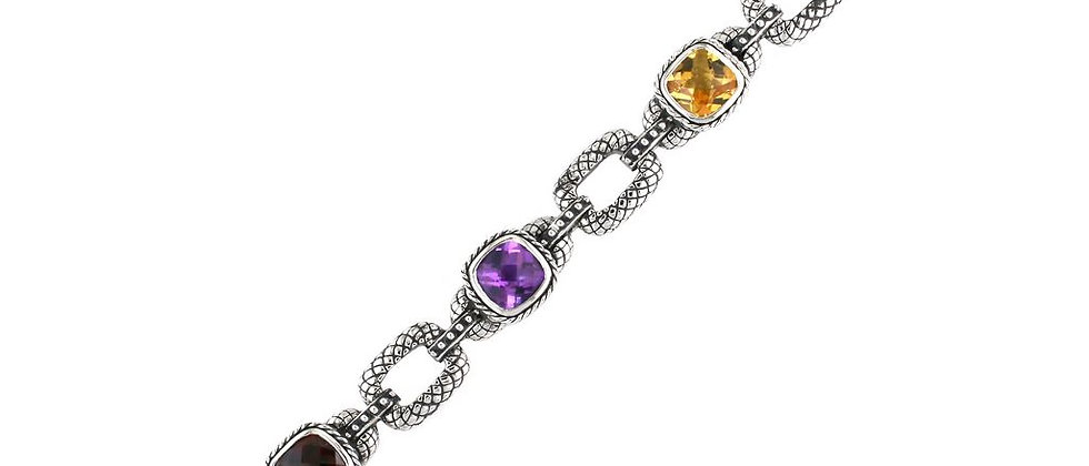 Sterling Multi-color Gem Stone Bracelet