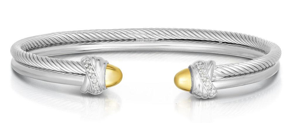 Silver & 18K Diamond Cuff