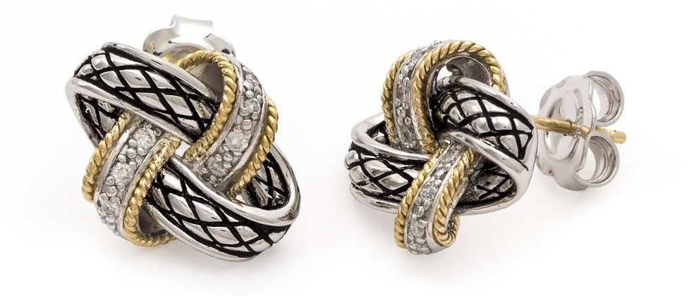 Silver and 18K Diamond Knot Earrings