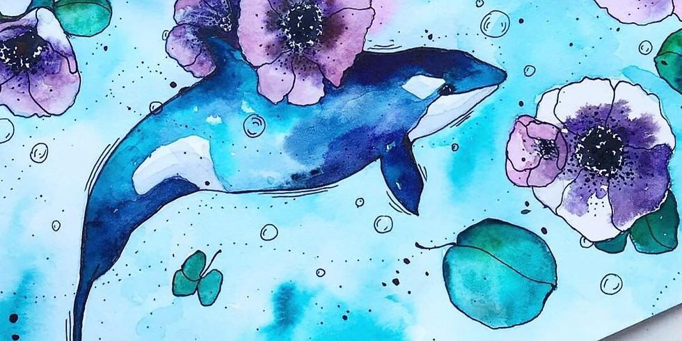 Мастер-класс по акварели  Дельфин