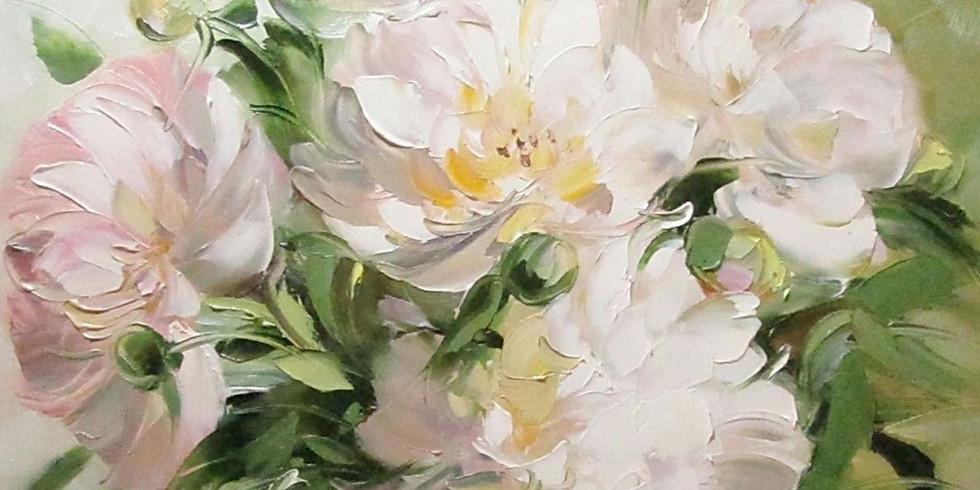 Картина маслом на холсте Пионы