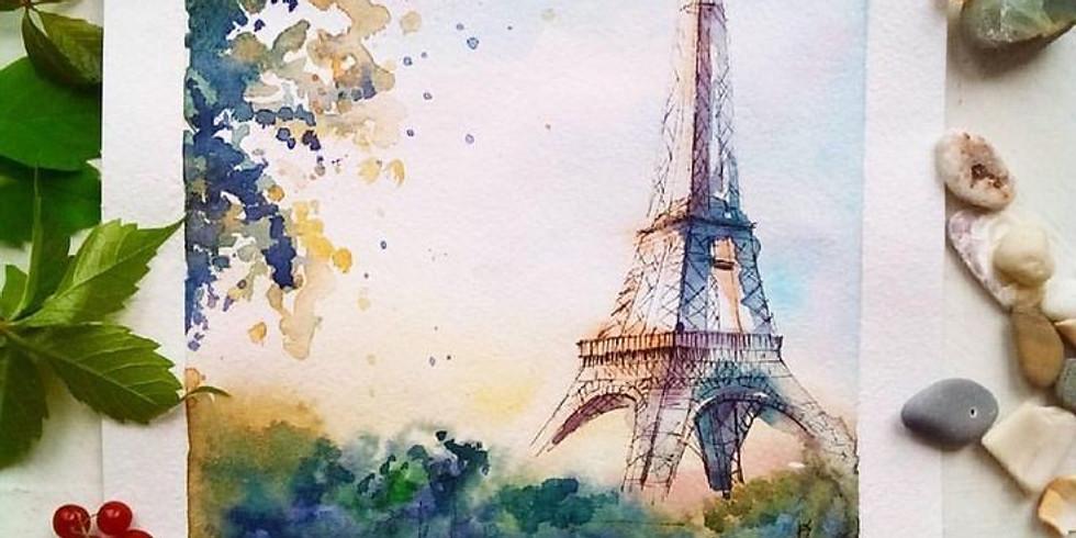 Мастер-класс по живописи акварелью Весна в Париже