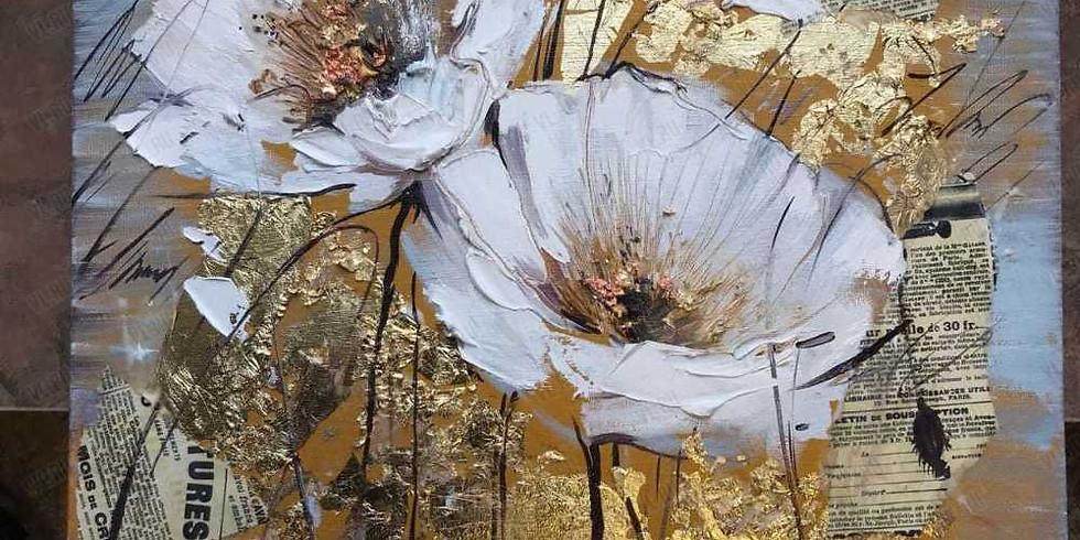 Цветы с поталью. Мастер-класс по живописи маслом с нуля