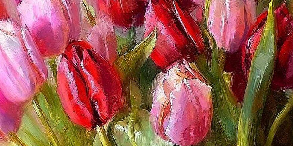Букет тюльпанов. Живопись маслом для начинающих