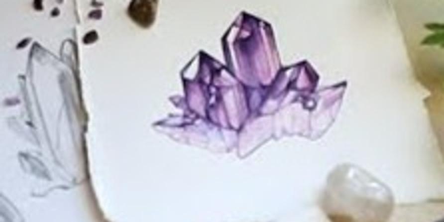 Мастер-класс по акварели Кристаллы