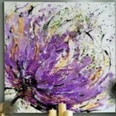 """Мастер-класс по живописи маслом.  """"Сиреневый цветок""""   с поталью"""