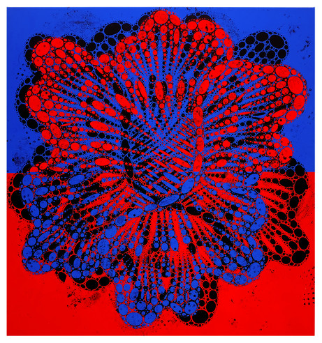 (painting, peony, contemporary art, flowers, blue, red)