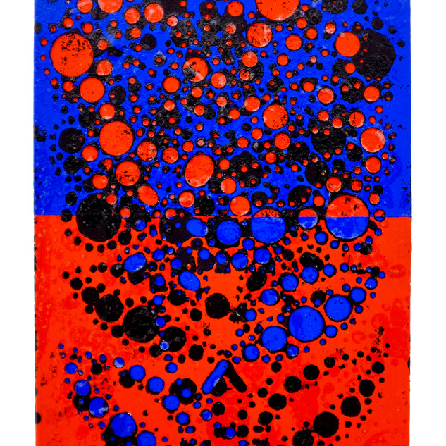 Red&Blue, 2019 7x5 inches Flashe and Varnish on cut paper mounted to Linen on Panel