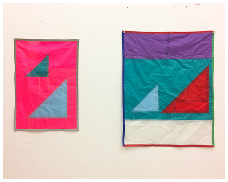 TWO SMALL SISTERS  2 small sewn flags made from recycled spinnaker sail nylon Variable dimensions 2017