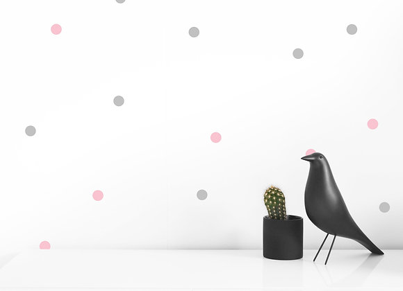 SMALL DOT WALL DECALS BABY PINK AND GREY
