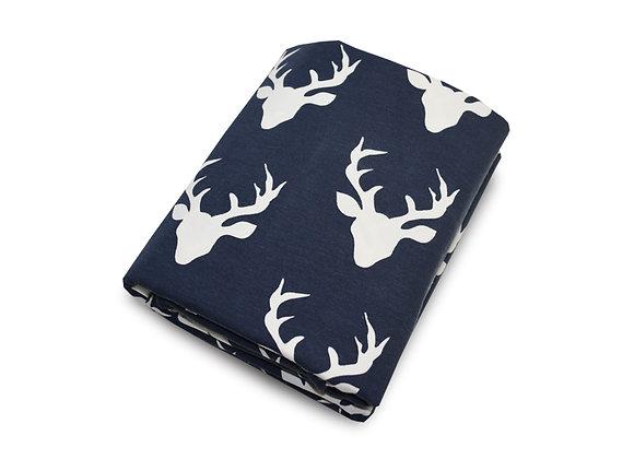 Woodland Deer Crib Sheet in navy