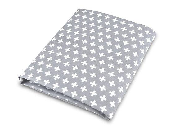 Grey Cross crib sheet
