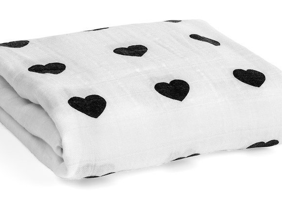 ORGANIC COTTON MUSLIN SWADDLE BLANKET - HEARTS