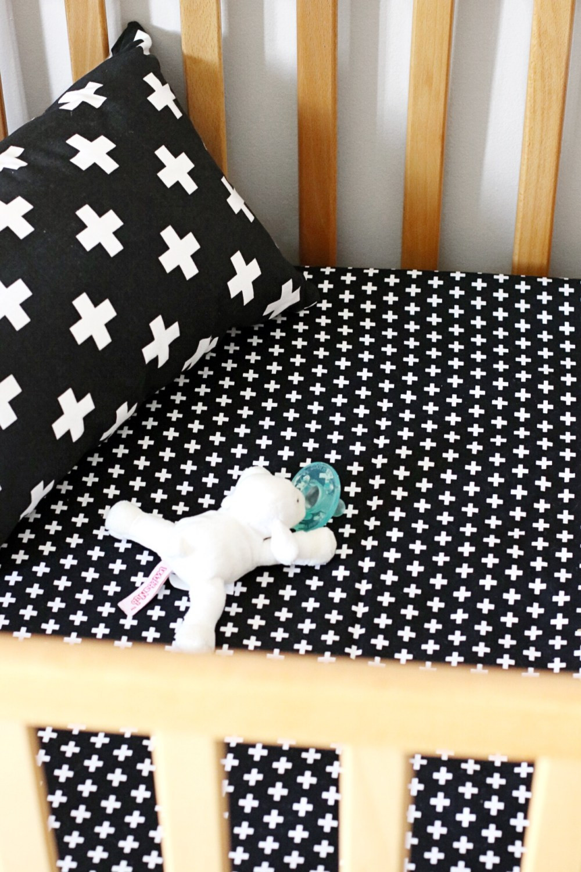 Black Cross Crib Sheet + Pillow