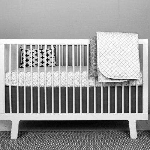 grid crib bedding set - White Baby Crib