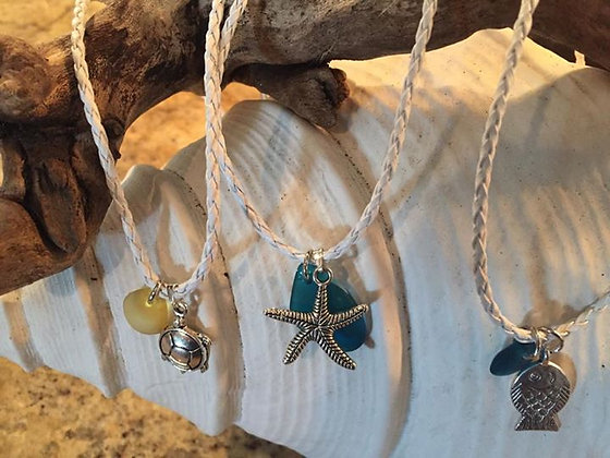 """leather cord sea glass 16""""necklace"""