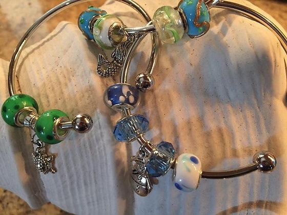 glass bead silver plated bracelet