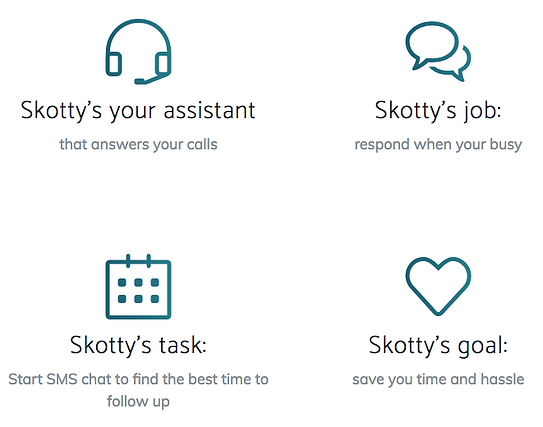 helloskotty is the virtua assistant app that asnwers missed calls, and schedules callbacks.  Saving you time andhassle