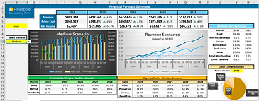 Financial forecast dashboard of outcomes