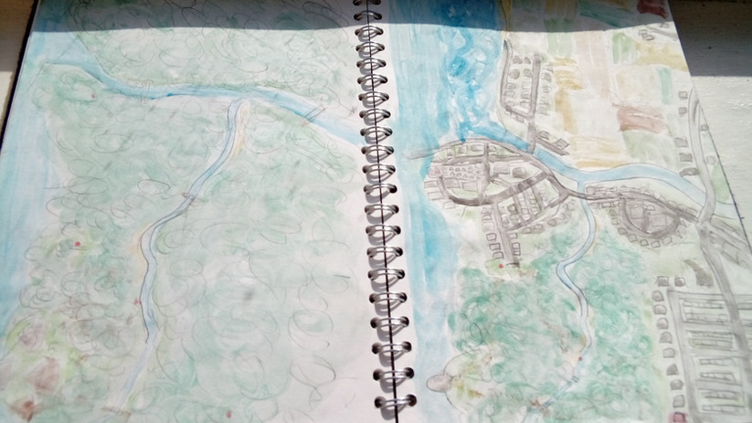 Map sketches in my notebook