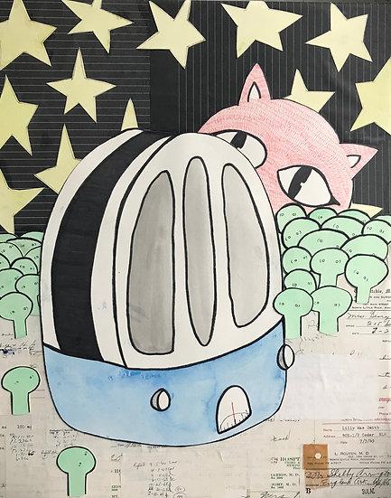 """Cat's Radio"" (11x17) - Print"