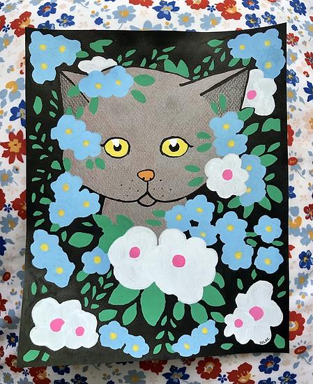 """Flower Cat"" (8x10)"