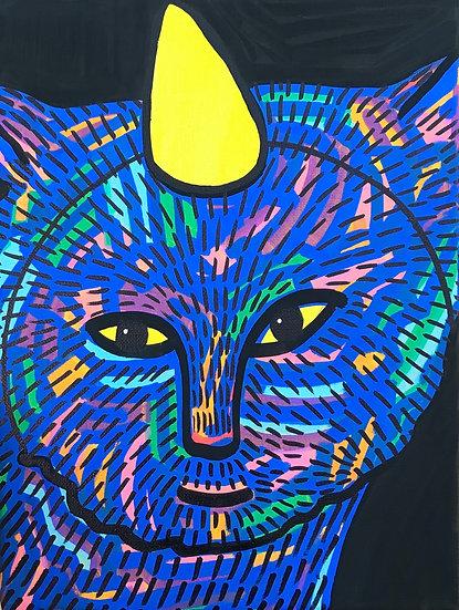 """Birthday Party Cat"""" (9x12)"""