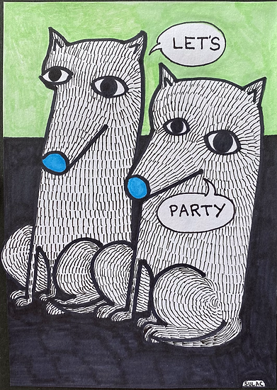"""Party Dogs"" (5x7)"