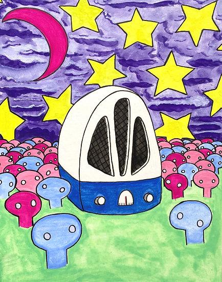 """Purple Night in the Radio Field"" (6x8)"