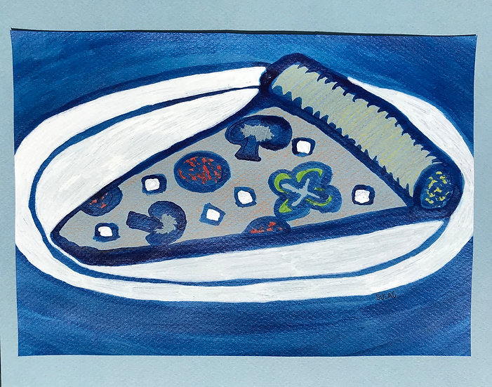 """""""The Blue Slice"""" or """"Frozen Pizza"""" (8x10)"""