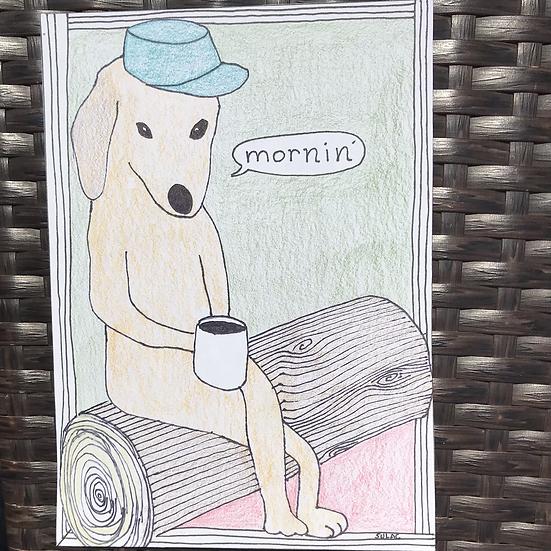 """Camping Dog"" (5x7)"