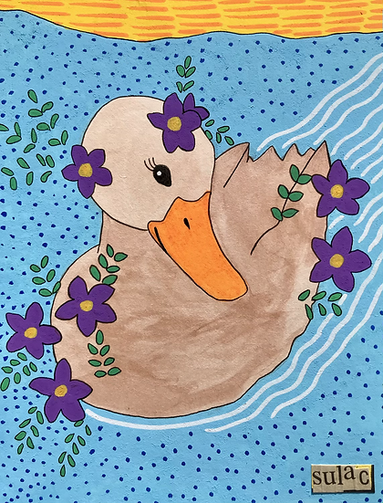 """""""Duck with Flowers"""" (6x8)"""