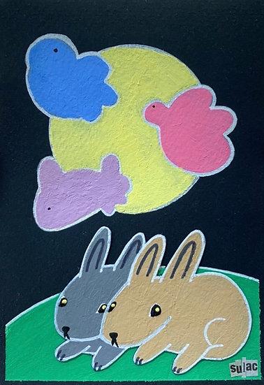 """""""Full Moon Bunnies"""" (5x7)"""