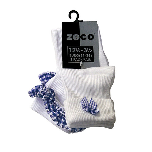 Gingham trimmed socks-Twin pack