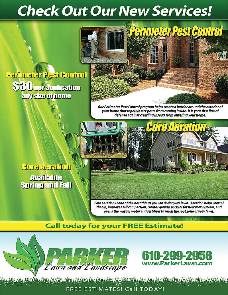 lawn landscape flyers pest control core aeration flyer