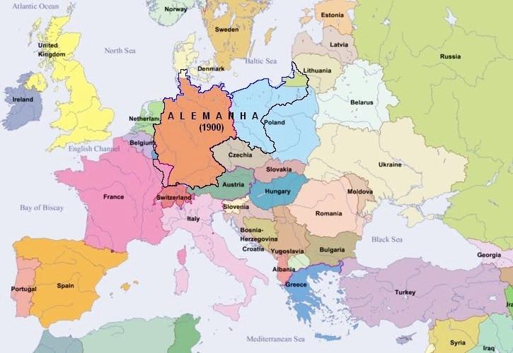 Figura 1: reino da Prússia no ano de 1900 (contornos negros), sobreposto aos países europeus atuais. Fonte: http://herdeirodeaecio.blogspot.com.br/2012_02_01_archive.html