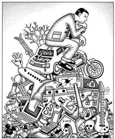 desenho de um homem sentado num monte de lixo gerado pelo consumismo