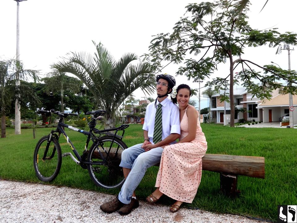 Casamento do casal bicicleta