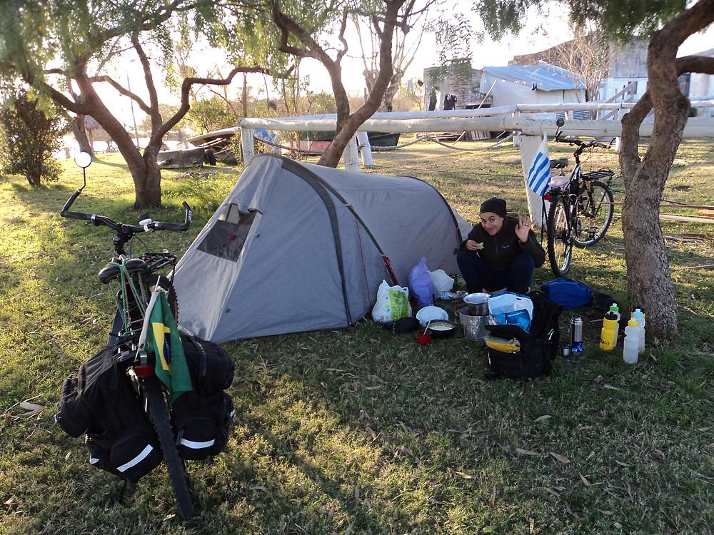 Camping, viagem de bicicleta